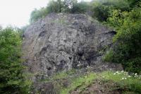 Výchozy čedičového lávového proudu v opuštěném lomě na jz. svazích Holého vrchu. , Vladislav Rapprich, 2009