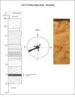 12 m mocné fluviální písčité štěrky s výsledky měření paleoproudů (báze akumulace 305 m n.m.)., Tomáš Štor, 2010