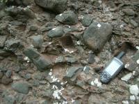 Detail sedimentů rokytenských slepenců s podpůrnou strukturou valounů. Valouny jsou tvořeny drobami spodnokarbonského stáří., Pavla Tomanová Petrová, 2011