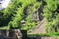 Výchoz černouhelných slojí svrchního karbonu ostravské paralické části hornoslezské pánve. Na výchozech jsou sloje mocné cm až první dm. V průběhu přerušovaného skalního defilé vrstvy a souvrství mění svou horizontální polohu až k vertikálním výchozům. Změnu superpozice způsobily tektonické vlivy doznívajících a mladších horotvorných procesů., Jan Malík, 2011