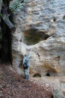 Skalní dutiny v pískovcové stěně v severní části údolí Plakánek (200 m j. od hradu Kost). , Jaroslav Valečka, 2011