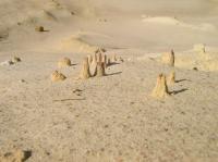 Zemní pyramidy v písku na dně těžební etáže. Výška útvarů je cca 5 cm. , Stanislav Čech, 2010