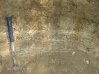 Část nově otevřeného profilu průzkumné sondy prof. Fejfara u Valče. Tenké bílé polohy deskovitého vápence se střídají s polohami bohatými na vulkanickou příměs. Nahoře poloha krystaloklastického bazálního tufu. Sekvence se ve vyšších partiích opakuje, Petr Hradecký, 2011