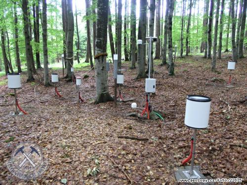 Rozmístění automatických zařízení na měření podkorunových srážek na povodí Liz