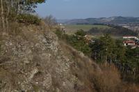 Vrchol a jižní svah Trubínského vrchu (zvaného též Kazatelna) představuje jeden z nejlepších výchozů komárovského vulkanického komplexu. Ve skalních výchozech je odkryta komínová brekcie ordovických bazaltů diskordantně prorážející ordovická souvrství. Podle Fialy (1971) jde o brekciový granulát odpovídající komínové brekcii. Je to namodrale šedozelená, pevná hornina, která po navětrání nabývá brekciového vzhledu. Často se v ní vyskytují žilky sekundárně vyloučeného kalcitu, v základní hmotě se kromě bazických plagioklasů hojně vyskytuje amfibol (podle V. Zieglera - Geologické exkurze po Praze a okolí)., Motyčková Kamila - Šír Jiří, 2015