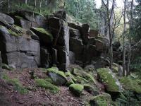 Na j. až jz. svahu vrchu zvaný Štamberk nebo Stanov jsou výrazné skalní výchozy (mrazové sruby), členěné mrazovým zvětráváním do sutí a kamenného moře. , Jan Vítek, 2013