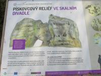 Naučná cedule popisující geologické jevy v PP Divadlo., Markéta Vajskebrová, 2016