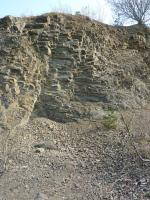 Lom s občasnou těžbou. Celkový pohled na sv. stěnu. Tměř stébelnatý rozpad silně tektonicky namoženého ryolitu ve východní stěně., Josef Večeřa, 2015