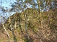 Asi 100 m dlouhá skalní stěna tvořená zvětralým tonalitem, přístupná z jižního konce. Severní část stěny - detail, Josef Večeřa, 2015
