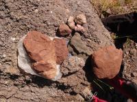 Na lokalitě najdeme mandlovcovitý melafyr, červenohnědá pyroklastika s akrečními lapillami, povlaky chloritu, radiálně uspořádané krystaly křemene, kalcit., Markéta Vajskebrová, 2017