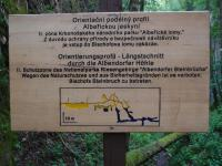Opuštěný Bischofův lom na vápenec, který ukrývá vstup do nejdelší jeskyně KRNAPu - krasové Albeřické jeskyně. Informační tabule., Markéta Vajskebrová, 2017