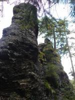 Nápadné fylitové, až 20 m vysoké, skalky a skaliska vzniklé mrazovým zvětráváním, s pěknou ukázkou detailního zvrásnění., Markéta Vajskebrová, 2017