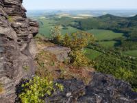 Na vrcholu (689 m n. m.) trachytového lakolitu Lipské hory jsou tence deskovitá skaliska, rozčleněná četnými puklinami na bloky, stěny a římsy., Markéta Vajskebrová, 2018