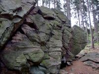 Zvětráváním a erozí rozčleněné skalní výchozy v migmatitech a červených ortorulách., Markéta Vajskebrová, 2019